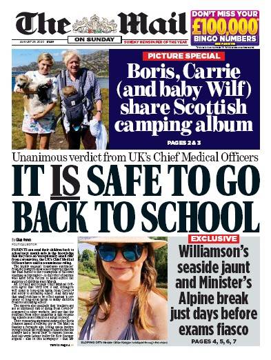 The Mail on Sunday Newspaper Front Page (UK) for 23 August 2020