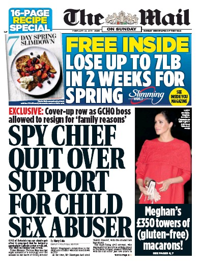 The Mail on Sunday Newspaper Front Page (UK) for 24 February 2019