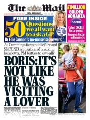 The Mail on Sunday front page for 24 May 2020