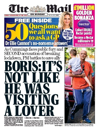 The Mail on Sunday Newspaper Front Page (UK) for 24 May 2020