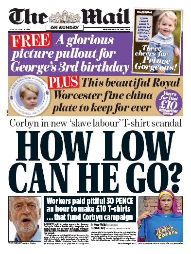 The Mail on Sunday Newspaper Front Page (UK) for 24 July 2016