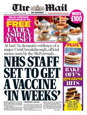 The Mail on Sunday front page for 25 October 2020