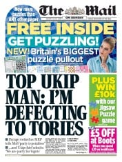 The Mail on Sunday (UK) Newspaper Front Page for 25 January 2015