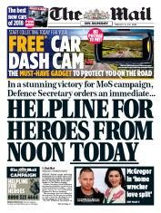 The Mail on Sunday (UK) Newspaper Front Page for 25 February 2018