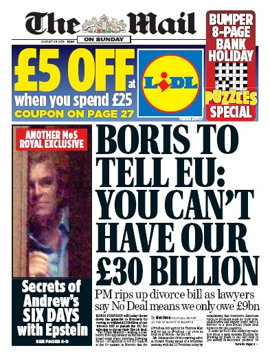 The Mail on Sunday Newspaper Front Page (UK) for 25 August 2019