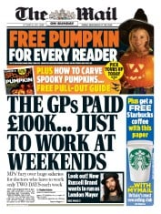 The Mail on Sunday (UK) Newspaper Front Page for 26 October 2014