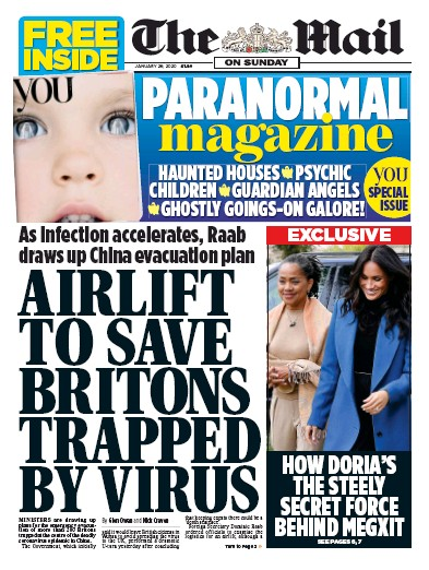 The Mail on Sunday Newspaper Front Page (UK) for 26 January 2020