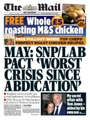 The Mail on Sunday (UK) Newspaper Front Page for 26 April 2015