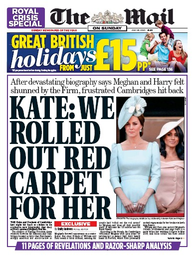 The Mail on Sunday Newspaper Front Page (UK) for 26 July 2020