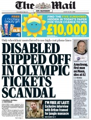 The Mail on Sunday (UK) Newspaper Front Page for 26 August 2012