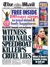 The Mail on Sunday (UK) Newspaper Front Page for 27 January 2019