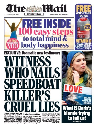 The Mail on Sunday Newspaper Front Page (UK) for 27 January 2019