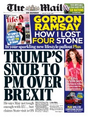 The Mail on Sunday (UK) Newspaper Front Page for 28 January 2018