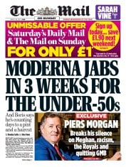 The Mail on Sunday front page for 28 March 2021