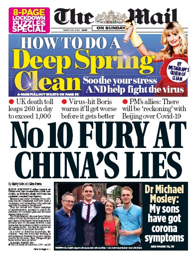 The Mail on Sunday Newspaper Front Page (UK) for 29 March 2020