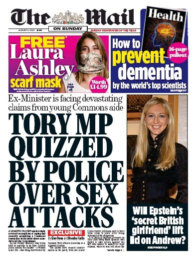 The Mail on Sunday Newspaper Front Page (UK) for 2 August 2020