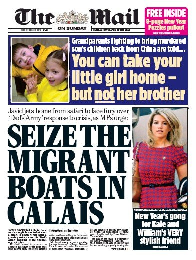 The Mail on Sunday Newspaper Front Page (UK) for 30 December 2018