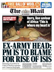 The Mail on Sunday (UK) Newspaper Front Page for 30 August 2015