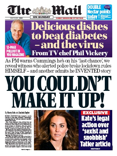 The Mail on Sunday Newspaper Front Page (UK) for 31 May 2020