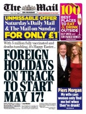 The Mail on Sunday (UK) Newspaper Front Page for 4 April 2021
