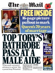 The Mail on Sunday (UK) Newspaper Front Page for 5 November 2017