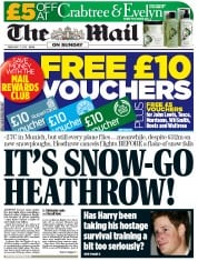 The Mail on Sunday Newspaper Front Page (UK) for 5 February 2012