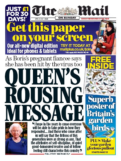 The Mail on Sunday Newspaper Front Page (UK) for 5 April 2020