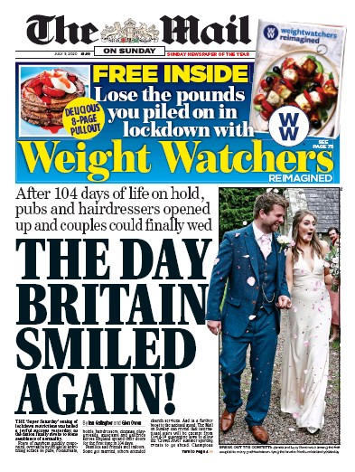 The Mail on Sunday Newspaper Front Page (UK) for 5 July 2020