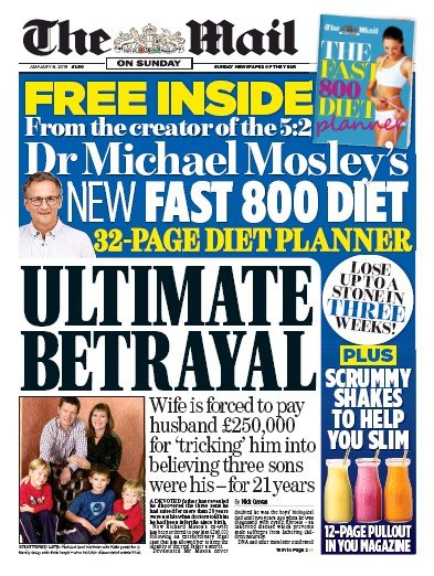 The Mail on Sunday Newspaper Front Page (UK) for 6 January 2019