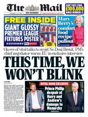 The Mail on Sunday front page for 6 September 2020