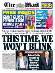 The Mail on Sunday (UK) Newspaper Front Page for 6 September 2020