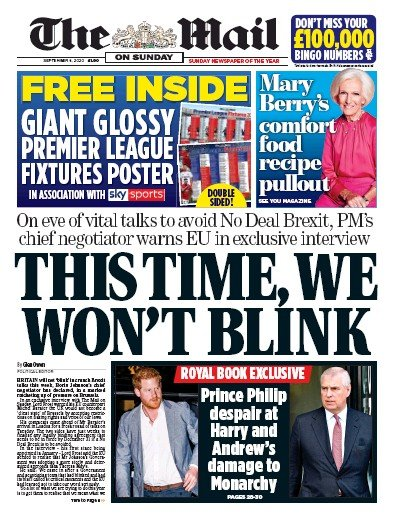 The Mail on Sunday Newspaper Front Page (UK) for 6 September 2020