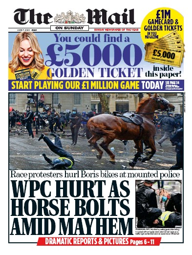 The Mail on Sunday Newspaper Front Page (UK) for 7 June 2020