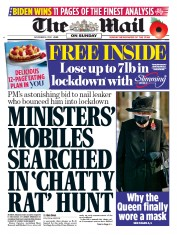 The Mail on Sunday front page for 8 November 2020