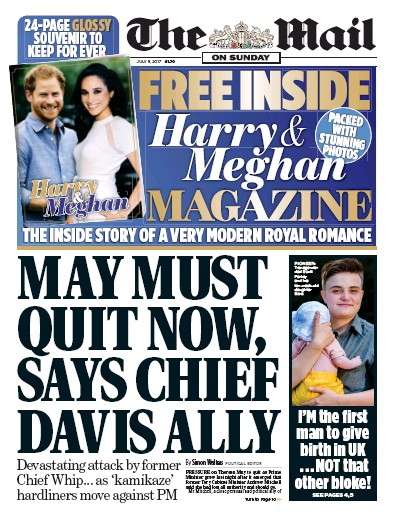 The Mail on Sunday Newspaper Front Page (UK) for 9 July 2017