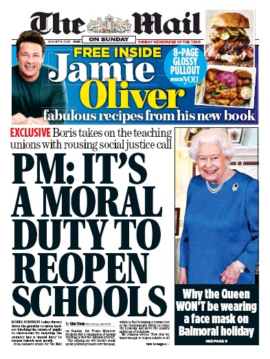 The Mail on Sunday Newspaper Front Page (UK) for 9 August 2020