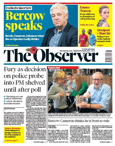 The Observer Newspaper Front Page (UK) for 10 November 2019