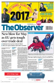 The Observer (UK) Newspaper Front Page for 10 December 2017