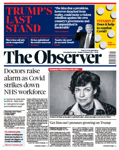 The Observer Newspaper Front Page (UK) for 10 January 2021