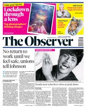 The Observer front page for 10 May 2020