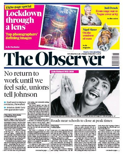 The Observer Newspaper Front Page (UK) for 10 May 2020