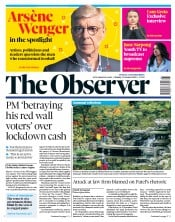 The Observer front page for 11 October 2020