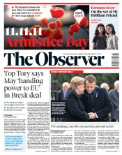 The Observer (UK) Newspaper Front Page for 11 November 2018