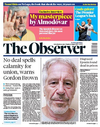 The Observer Newspaper Front Page (UK) for 11 August 2019