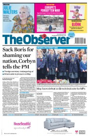 The Observer (UK) Newspaper Front Page for 12 November 2017