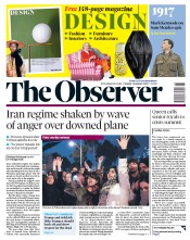 The Observer (UK) Newspaper Front Page for 12 January 2020
