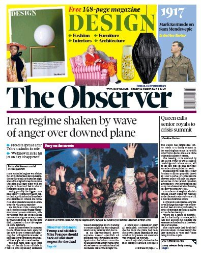 The Observer Newspaper Front Page (UK) for 12 January 2020