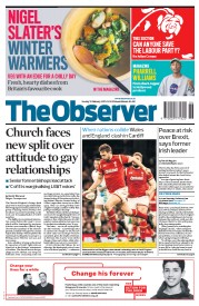 The Observer (UK) Newspaper Front Page for 12 February 2017