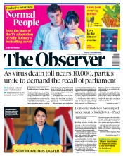 The Observer front page for 12 April 2020