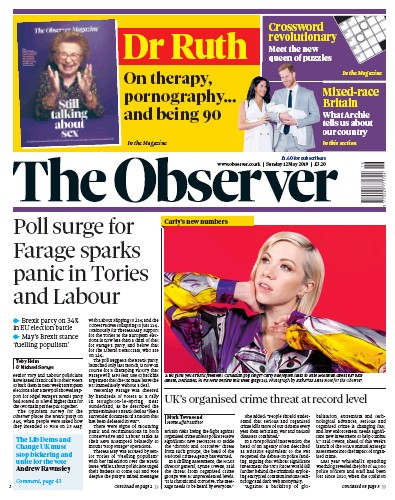 The Observer Newspaper Front Page (UK) for 12 May 2019